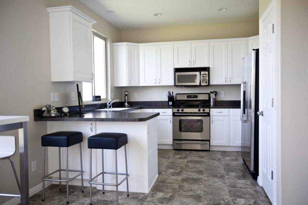 black and white kitchen