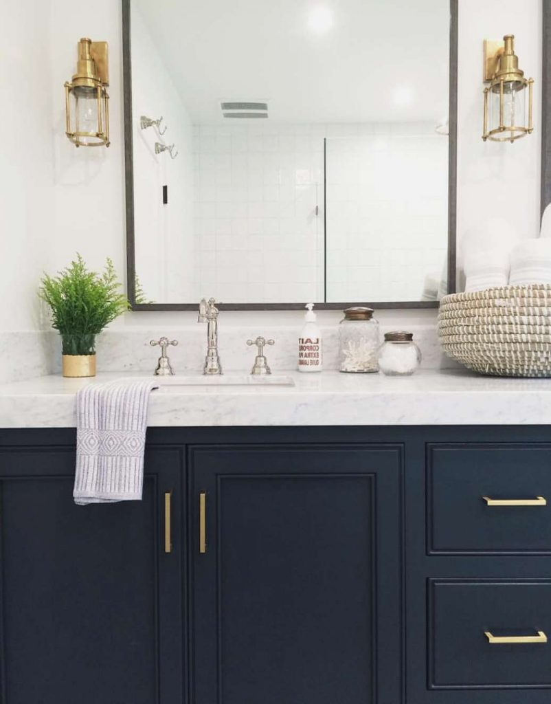 navy blue bathroom vanity
