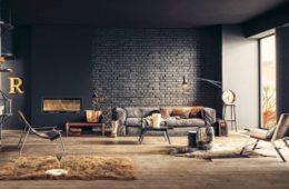 black brick wall