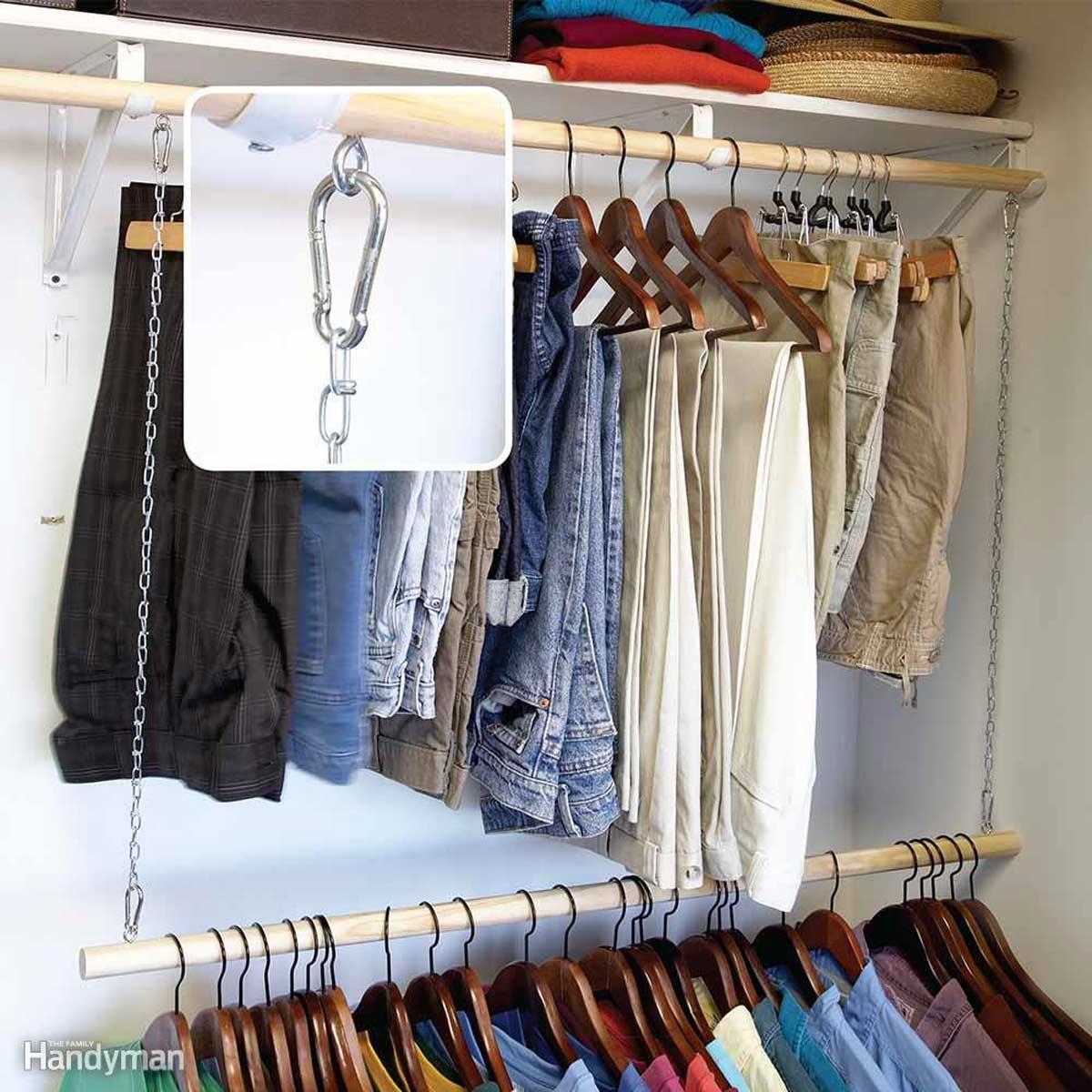 Double hang closet organiser