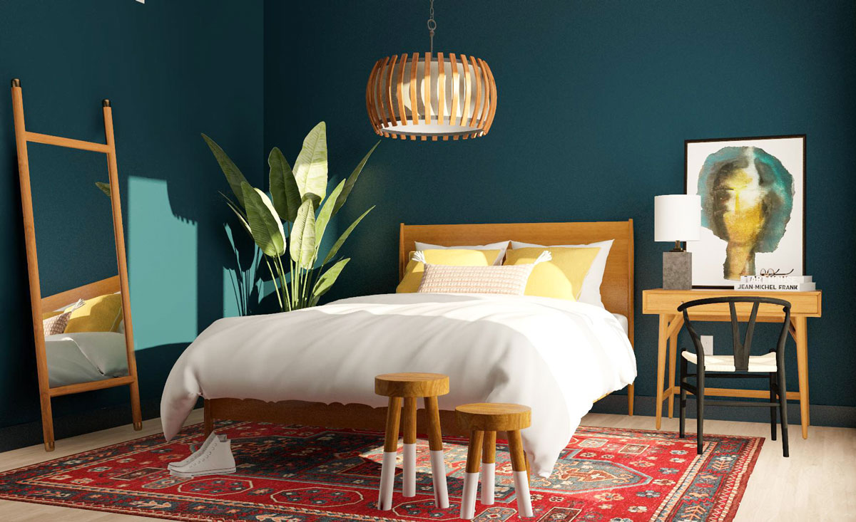 A Stylist Blue Accent Wall For Bedroom Design Ideas The