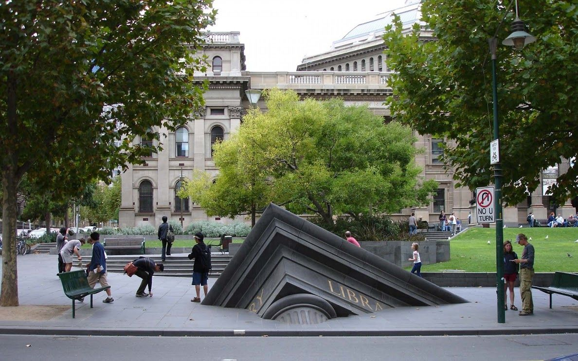 Sinking Building Outside State Library