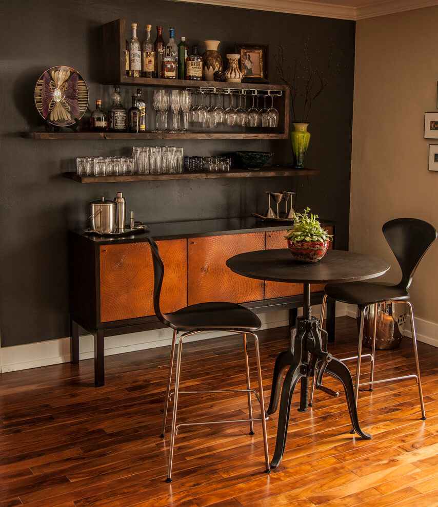 Wood Wall-Mounted Bar
