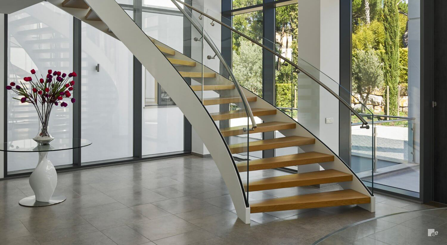 An angular staircase designed and installed by ANY Weld in Barnstaple, Devon