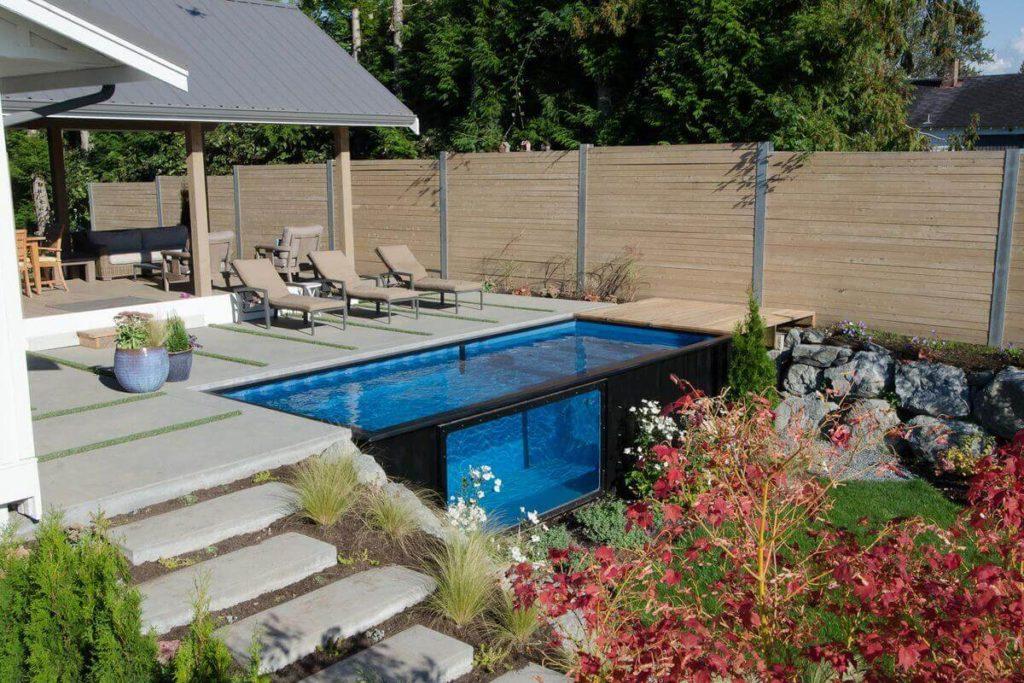 tinny pool in backyard