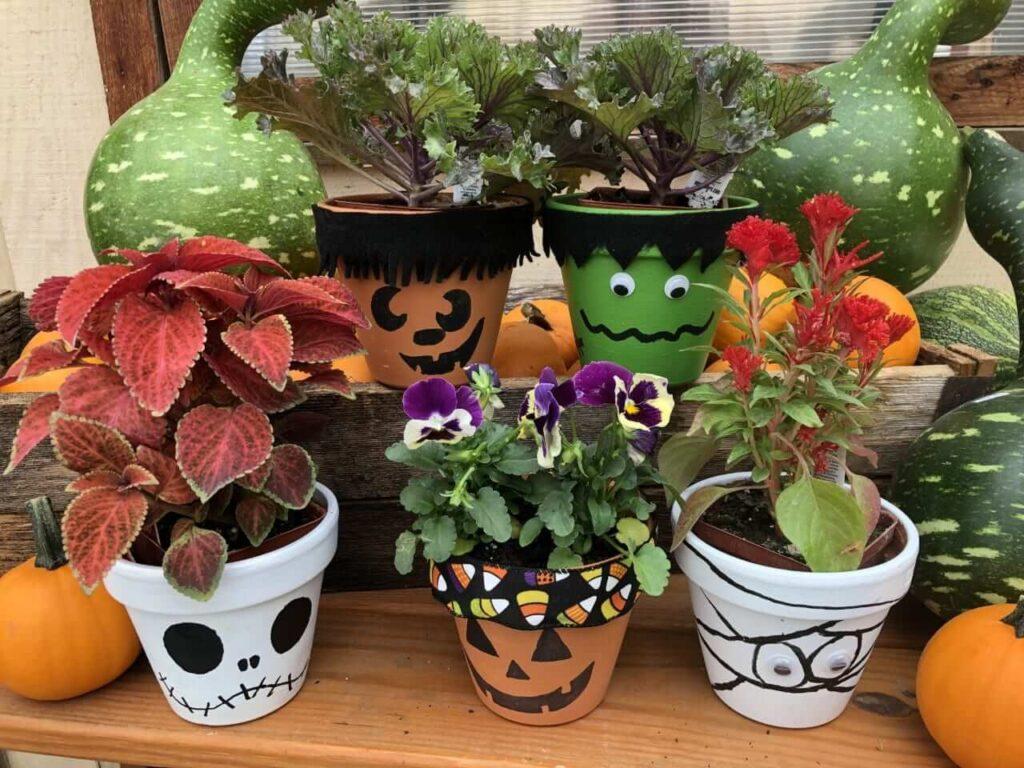 Halloween pumpkin flower pot