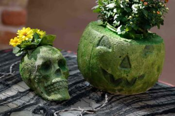 Halloween pumpkin flower pot