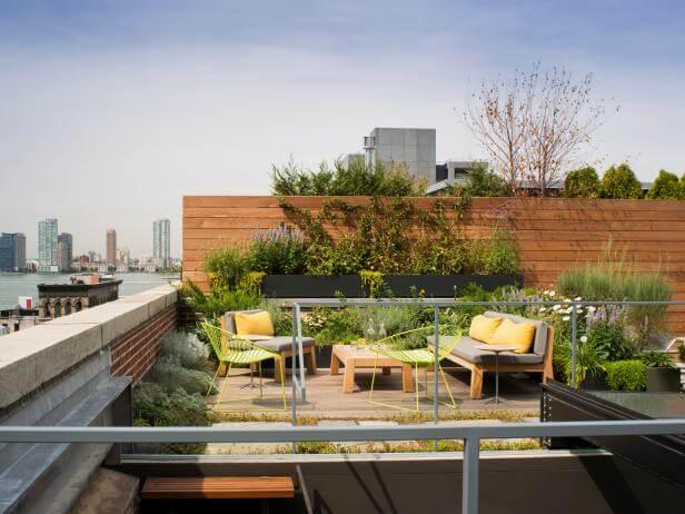terrace garden with sunlight