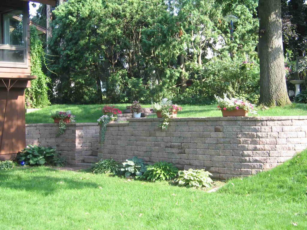 Backyard Has a Retaining Wall